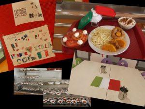 L'équipe de restauration scolaire a concocté un délicieux repas aux couleurs de l'Italie pour fêter à sa façon les 20 ans de jumelage entre Venerque et Rivoli Veronese (juin 2016)